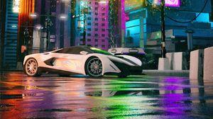Превью обои mclaren, автомобиль, суперкар, белый, здания, неон, иероглифы