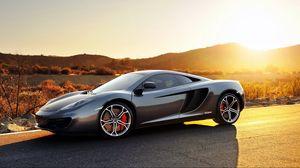 Превью обои mclaren, mp4-12c, sport, car, суперкар, спорт, кар, макларен, серый, закат