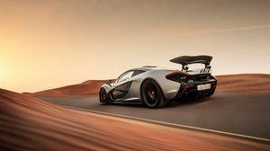Превью обои mclaren, p1, supercar, скорость, пустыня