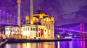 Превью обои мечеть, архитектура, ночной город, турция