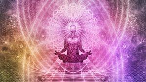 Превью обои медитация, чакра, аура, лотос, йога, энергия, буддизм, мандала, арт