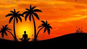 Превью обои медитация, йога, силуэт, пальмы, гармония