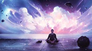 Превью обои медитация, спокойствие, гармония, арт, человек, дождь, эврика