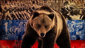 Превью обои медведь, символика, флаг, россия, война, бойцы, достопримечательности