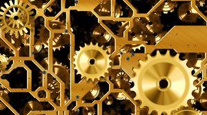 Превью обои механизм, шестерни, золото
