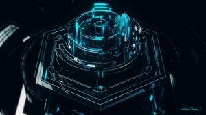 Превью обои механизм, структура, 3d, темный, отблеск