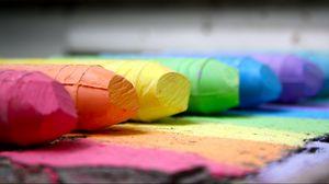 Превью обои мел, карандаш, разноцветный, макро