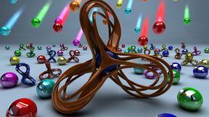 Превью обои металл, разноцветный, шары, фигура, яркий, множество