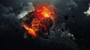 Превью обои метеорит, скорость, космос, обломки, дым