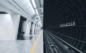 Превью обои метро, станция, тоннель, рельсы, подземный