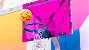 Превью обои мяч, баскетбольное кольцо, баскетбол, бросок, корзина