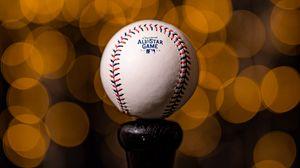 Превью обои мяч, бейсбол, крупный план, размытость, боке