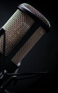 Превью обои микрофон, музыкальное оборудование, черный, музыка
