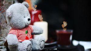 Превью обои мило, мишка, свечи, сердечки, teddy, любовь