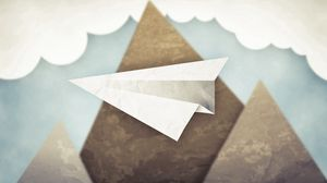 Превью обои минимализм, горы, облака, небо, бумажный самолет