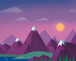 Превью обои минимализм, небо, облака, солнце, горы, озеро, пейзаж