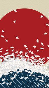 Превью обои минимализм, оригами, япония, восходящее солнце, волна