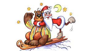 Превью обои мишка, дед мороз, открытка, звезды, луна, сани, праздник