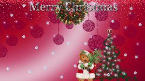 Превью обои мишка, елка, венок, надпись, рождество, снежинки, праздник