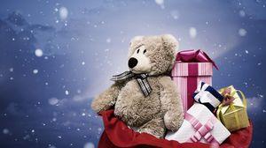 Превью обои мишка, подарки, мешок, снег, рождество, новый год