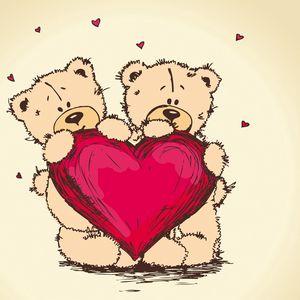 Превью обои мишки тедди, рисунок, романтика, пара, сердце, любовь