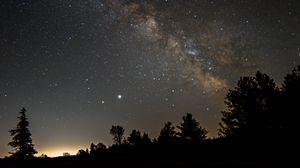 Превью обои млечный путь, небо, звезды, деревья, ночь, темный