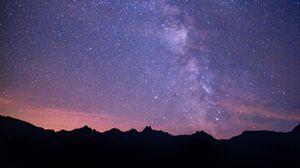 Превью обои млечный путь, звездное небо, ночь, горы