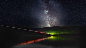 Превью обои млечный путь, звездное небо, звезды, мост, подсветка
