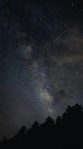 Превью обои млечный путь, звезды, деревья, небо, ночь, темный