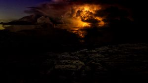 Превью обои молния, облачно, буря, гроза, сумерки