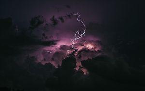 Превью обои молния, облака, небо, пасмурно
