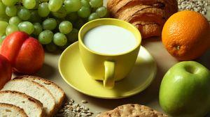 Превью обои молоко, фрукты, хлеб