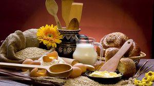 Превью обои молоко, сыр, яйца, хлеб, натюрморт, ингредиенты