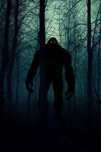 Превью обои монстр, чудовище, силуэт, лес, ночь, арт