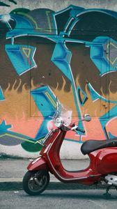 Превью обои мопед, красный, стена, граффити