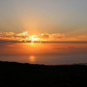 Превью обои море, горизонт, закат, солнце, темный