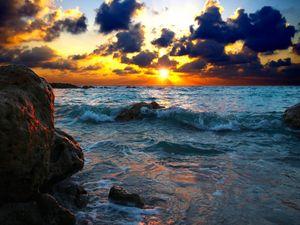 Превью обои море, прибой, закат, камни