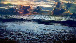 Превью обои море, шторм, цвета, краски, бушующее, небо, непогода, горизонт