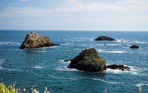 Превью обои море, вода, волны, скалы, природа, пейзаж