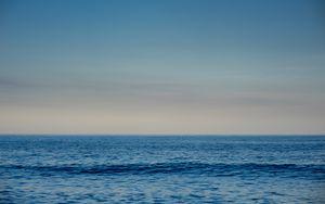 Превью обои море, вода, волны, горизонт, синий