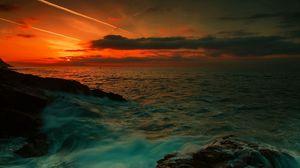 Превью обои море, волны, ночь, камни