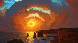 Превью обои море, закат, арт, скалы, небо, облака, пейзаж