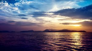 Превью обои море, закат, скалы