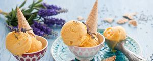 Превью обои мороженое, рожок, лаванда, десерт