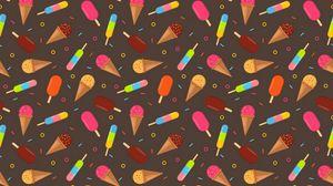 Превью обои мороженое, разноцветный, узоры, текстура