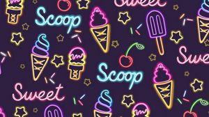 Превью обои мороженое, узоры, паттерн, неон, сладкое
