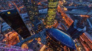 Превью обои москва, башня, вид сверху, здания, столица, россия