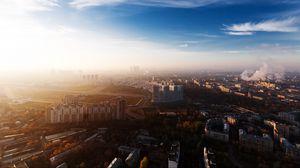 Превью обои москва, город, россия, панорама, обзор, дома, столица, мегаполис, небоскрёб