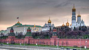Превью обои москва, кремль, кремлёвская стена, набережная, церковь, храм, столица