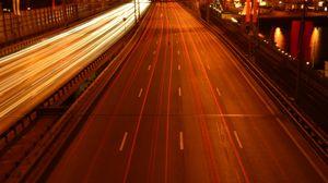 Превью обои москва, мост, машины, дорога, огни